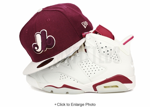 "Montreal Expos Intense Maroon AJ VI ""New Maroon"" / Air More Uptempo ""Bordeaux"" New Era Hat"