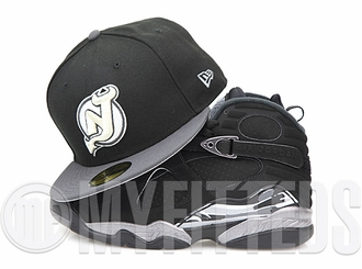 "New Jersey Devils Jet Black Carbon Graphite Silver Air Jordan VIII ""Chrome"" Matching New Era Hat"