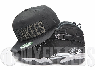"New York Yankees Jet Black Reflective Air Jordan VIII ""Chrome"" Matching New Era Golfer Snapback"