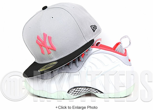 New York Yankees Placid Gray Jet Black Infrared Bliss Yeezy Foamposite New Era Fitted Cap