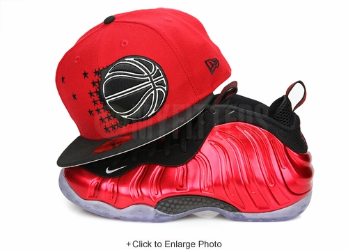 "Orlando Magic Scarlet Jet Black Air Foamposite One QS ""Metallic Red"" New Era Fitted Cap"