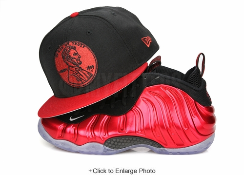 "Penny 1¢ One Cent Jet Black Garnet Fire Air Foamposite One QS ""Metallic Red"" New Era Fitted Hat"