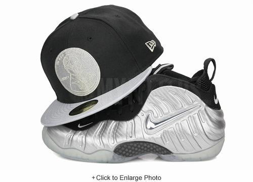 "Penny 1¢ One Cent Jet Black Metallic Silver Air Foamposite Pro PRM ""Silver Surfer"" New Era Snapback"