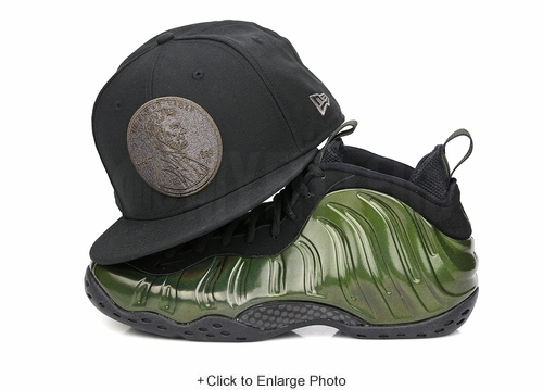 "Penny 1¢ One Cent Jet Black Air Foamposite One ""Legion Green"" Matching New Era Hat"