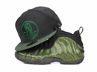 "Penny 1� One Cent Jet Black Algae Bloom Air Foamposite Pro ""Legion Green"" New Era Hat"