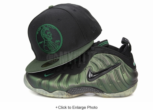 "Penny 1¢ One Cent Jet Black Algae Bloom Air Foamposite Pro ""Pine Green"" Matching New Era Hat"