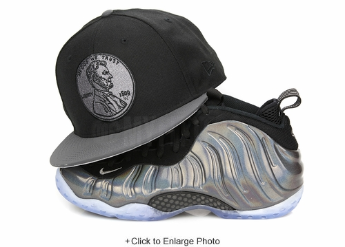 "Penny 1¢ One Cent Jet Black Carbon Reflective Air Foamposite One ""Hologram"" New Era Snapback"