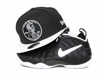 "Penny 1¢ One Cent Jet Black Glacial White Air Foamposite Pro ""Doctor Doom"" Matching New Era Snapback"
