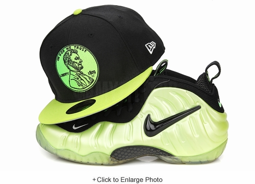 "Penny 1¢ One Cent Jet Black Max Voltage Air Foamposite Pro ""Electric Green"" Matching New Era Hat"