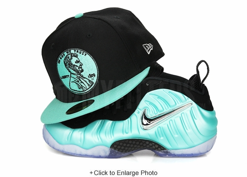 "Penny 1¢ One Cent Jet Black Sea Crystal Air Foamposite Pro ""Island Green"" New Era Hat"