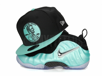 "Penny 1¢ One Cent Jet Black Sea Crystal Air Foamposite Pro ""Island Green"" New Era Snapback"