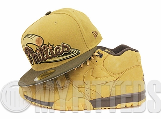 Philadelphia Phillies Wheat Mahogany Flax Pack Air Max 1 / Air Trainer / Air Force 1 Matching New Era Hat