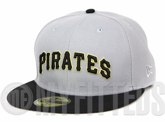 Pittsburgh Pirates Placid Grey Jet Black Argent Gold Road Jersey Inspired Wordmark New Era Fitted Cap