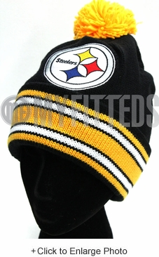 Pittsburgh Steelers Black Yellow Mitchell & Ness Pom Winter Skully