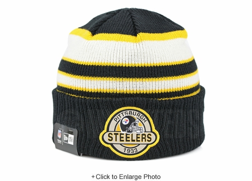 Pittsburgh Steelers Striped Select Est. 1933 Double Knit New Era Winter Skully Beanie