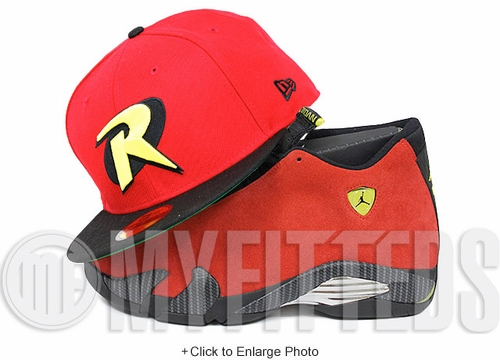 "Robin Scarlet Jet Black Moonbeam Green Undervisor Air Jordan XIV ""Ferrari"" Matching New Era Hat"