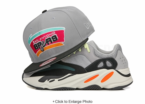San Antonio Spurs Placid Gray Jet Black Yeezy Boost 700 Waverunner New Era Snapback