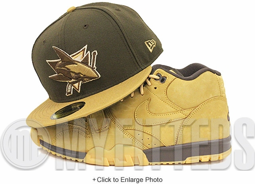San Jose Sharks Wheat Mahogany Nike Flax Pack Air Max 1 / Air Force 1 / Air Trainer Matching New Era Hat