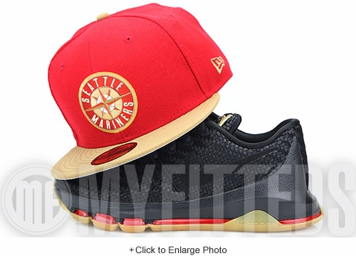"Seattle Mariners Vermillion Red Birch Veneer Seashell KD VIII ""The Weave"" Matching New Era Hat"