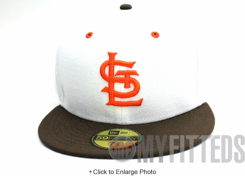 ST. LOUIS BROWNS 1946 Retro On-Field White Brown New Era Hat