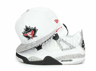 "Toronto Blue Jays Glacial White Cement Speckled Air Jordan IV V ""White Cement OG"" Matching New Era Snapback"