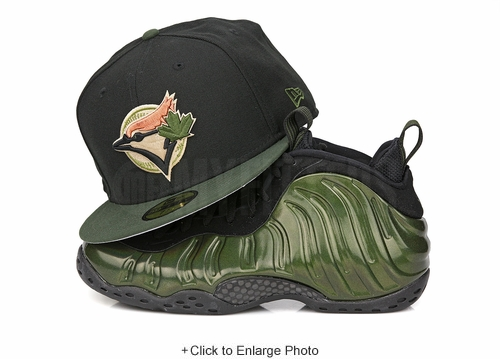 "Toronto Blue Jays Jet Black Algae Bloom Air Foamposite One"" Legion Green"" New Era Hat"