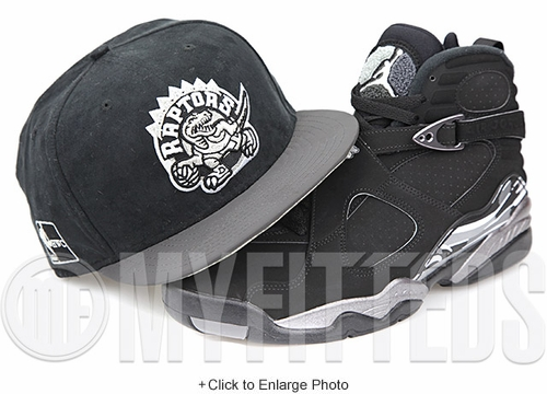 Toronto Raptors Black Suede 3M Visor Silver Black White Air Jordan VIII Chrome Matching New Era Hat