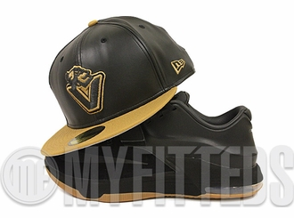 Vancouver Canucks Jet Black Faux Leather Wheat KD VII Black Suede Gum Bottom Matching New Era Hat