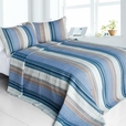 [Adonis] 100% Cotton 3PC Vermicelli-Quilted Striped Patchwork Quilt Set (King Size)