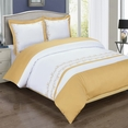 Amalia Gold Embroidered Duvet Cover Set Full-Queen Size 3PC