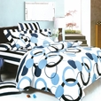 [Artistic Blue] 100% Cotton 3PC Mini Comforter Cover/Duvet Cover Set (Queen Size)