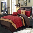 Atlantis Red 8-Piece Comforter Set Olympic Queen / European Size