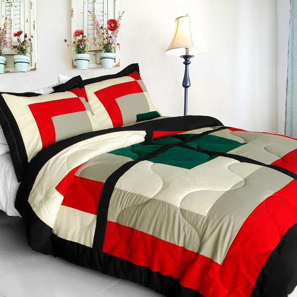 Beauty demi quilted patchwork down alternative comforter set full queen size for Home design alternative comforter