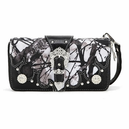 Blancho Bedding Womens [Branches] PU Leather Wristlet Wallet Zipper Purse Card Holder Black
