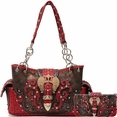 Blancho Bedding Womens [Crown] PU Leather Bag Set Elegant Wallet Hanbag Combo Fashion Bag Purse Red