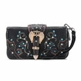 Blancho Bedding Womens [Crown] PU Leather Wristlet Wallet Zipper Purse Card Holder Black