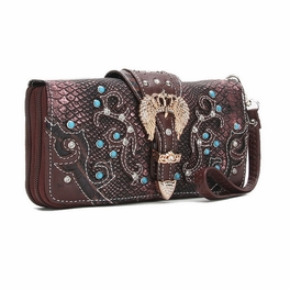 Blancho Bedding Womens [Crown] PU Leather Wristlet Wallet Zipper Purse Card Holder Brown