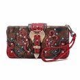 Blancho Bedding Womens [Crown] PU Leather Wristlet Wallet Zipper Purse Card Holder Red
