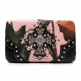 Blancho Bedding Womens [Leaves Elves] PU Leather Wristlet Wallet Zipper Purse Card Holder Black