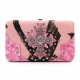 Blancho Bedding Womens [Leaves Elves] PU Leather Wristlet Wallet Zipper Purse Card Holder Fuchsia