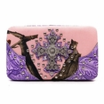 Blancho Bedding Womens [Leaves Elves] PU Leather Wristlet Wallet Zipper Purse Card Holder Purple