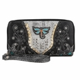 Blancho Bedding Womens [Retro Dragonfly] PU Leather Wristlet Wallet Zipper Purse Card Holder Black