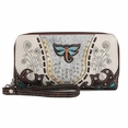 Blancho Bedding Womens [Retro Dragonfly] PU Leather Wristlet Wallet Zipper Purse Card Holder Brown