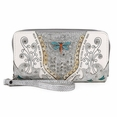 Blancho Bedding Womens [Retro Dragonfly] PU Leather Wristlet Wallet Zipper Purse Card Holder Silver
