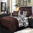 Bliss Chocolate Luxury 12-Piece Comforter Set Calking Size