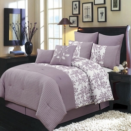 Bliss Purple Luxury 12-Piece Comforter Set Calking Size