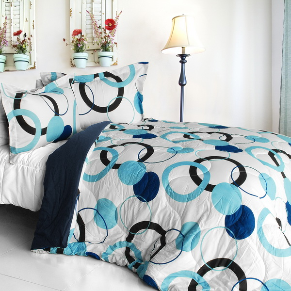 blue bubble quilted patchwork down alternative comforter set full queen size. Black Bedroom Furniture Sets. Home Design Ideas