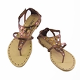 Bronze Cutout Flats Sandals Womens Shoes