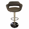 Brown chocolate Set of 2 Round Seat Barstools with Arm Bar Chair Adjustable Swivel PU Seat
