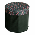 [Bubble - Black] Round Foldable Storage Ottoman / Storage Boxes / Storage Seat